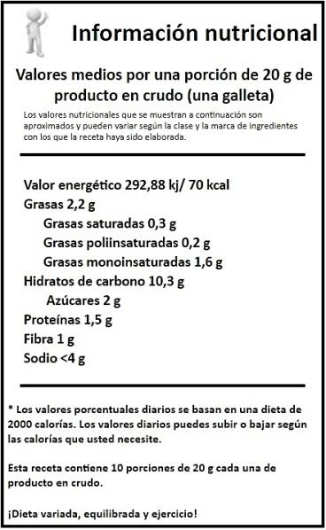 informacion nutricional galletas de espelta con fresa deshidratada