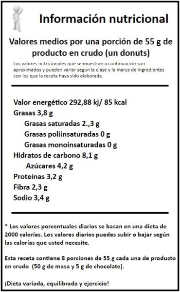 información nutricional donuts de patata con fresas y chocolate