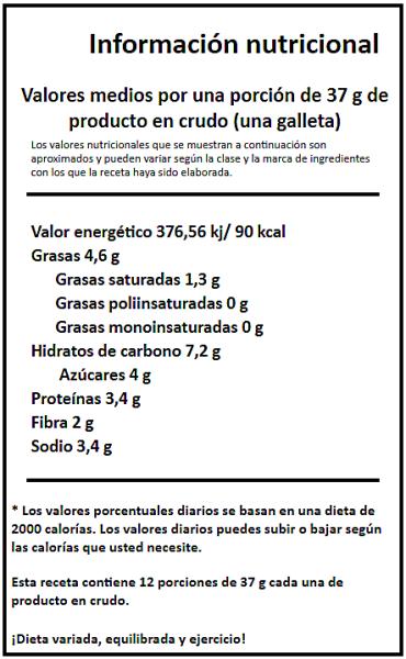 informacion nutricional galletas de garbanzos y cacao blog