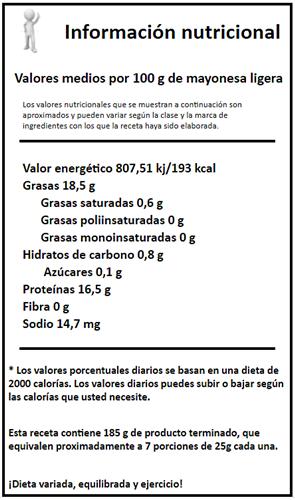 información nutricional mayonesa ligera