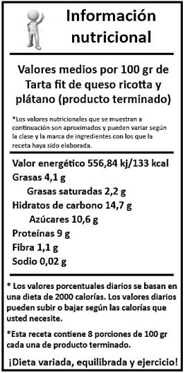 información nutricional tarta fit de queso ricotta y plátano